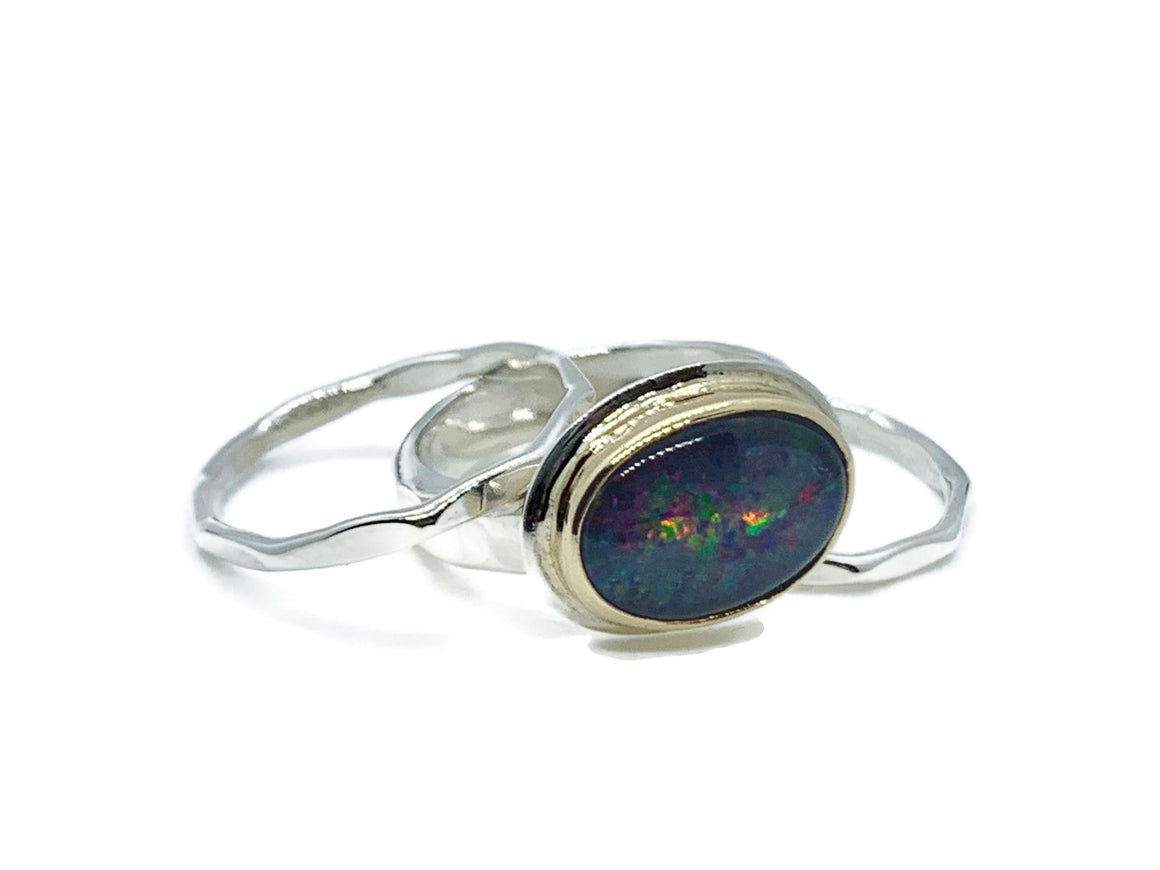Black Opal Ring Sterling Silver and Gold Size 7