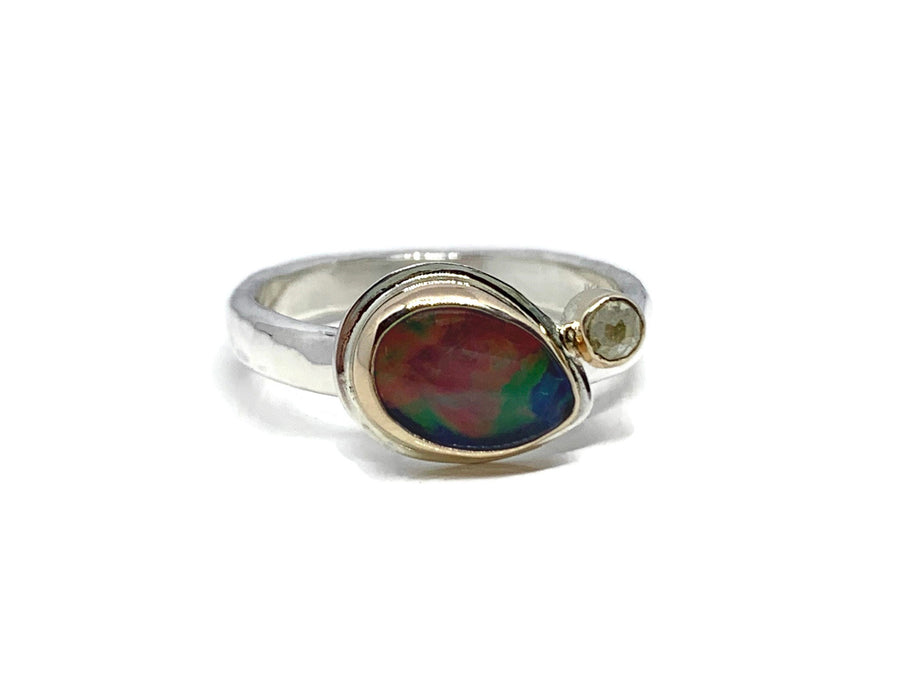 Black Opal Ring Silver and Gold with Yellow Diamond