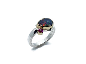 Black Opal Ring Side Set Pear with Ruby Accent