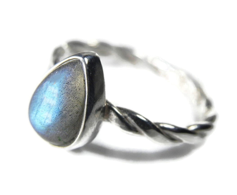 Pear Shaped Labradorite Solitaire Stacking Bezel Ring