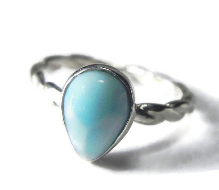Pear Shaped Larimar Solitaire Stacking Bezel Ring