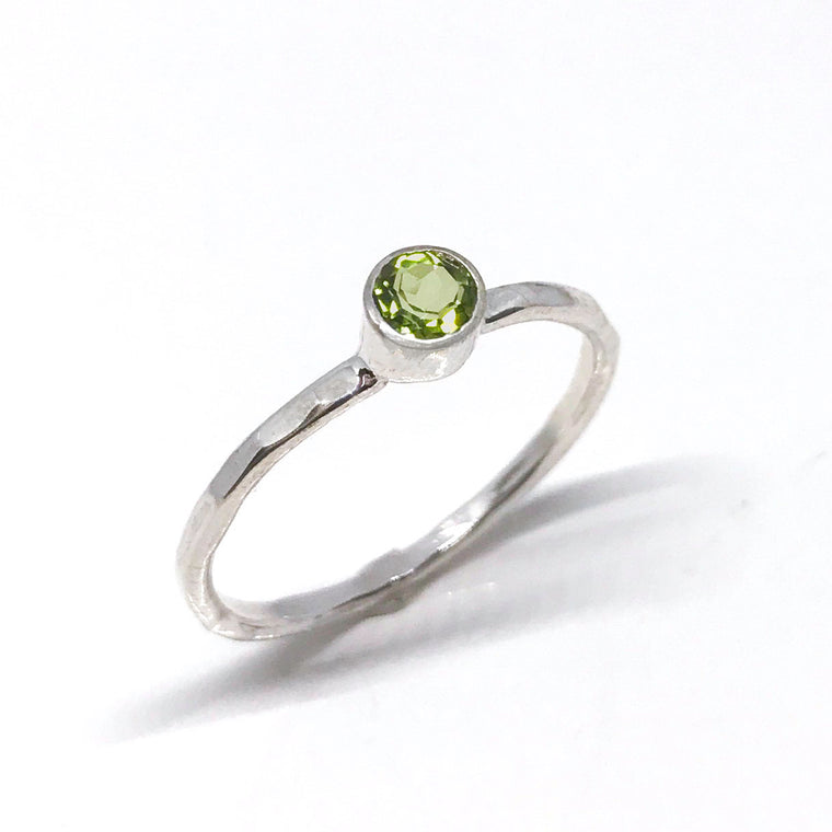 August Birthstone Peridot Minimalist Solitaire Ring