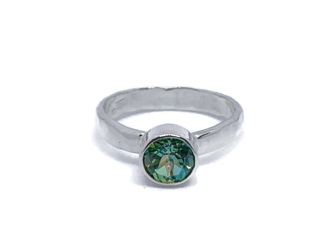 Mystic Topaz Ring Bezel Set Peridot Crush