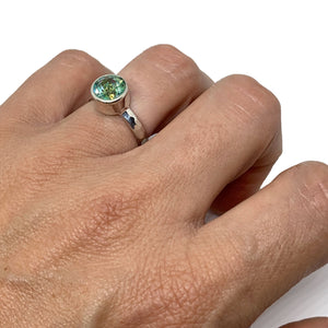 Mystic Topaz Peridot Crush Ring Large Solitaire