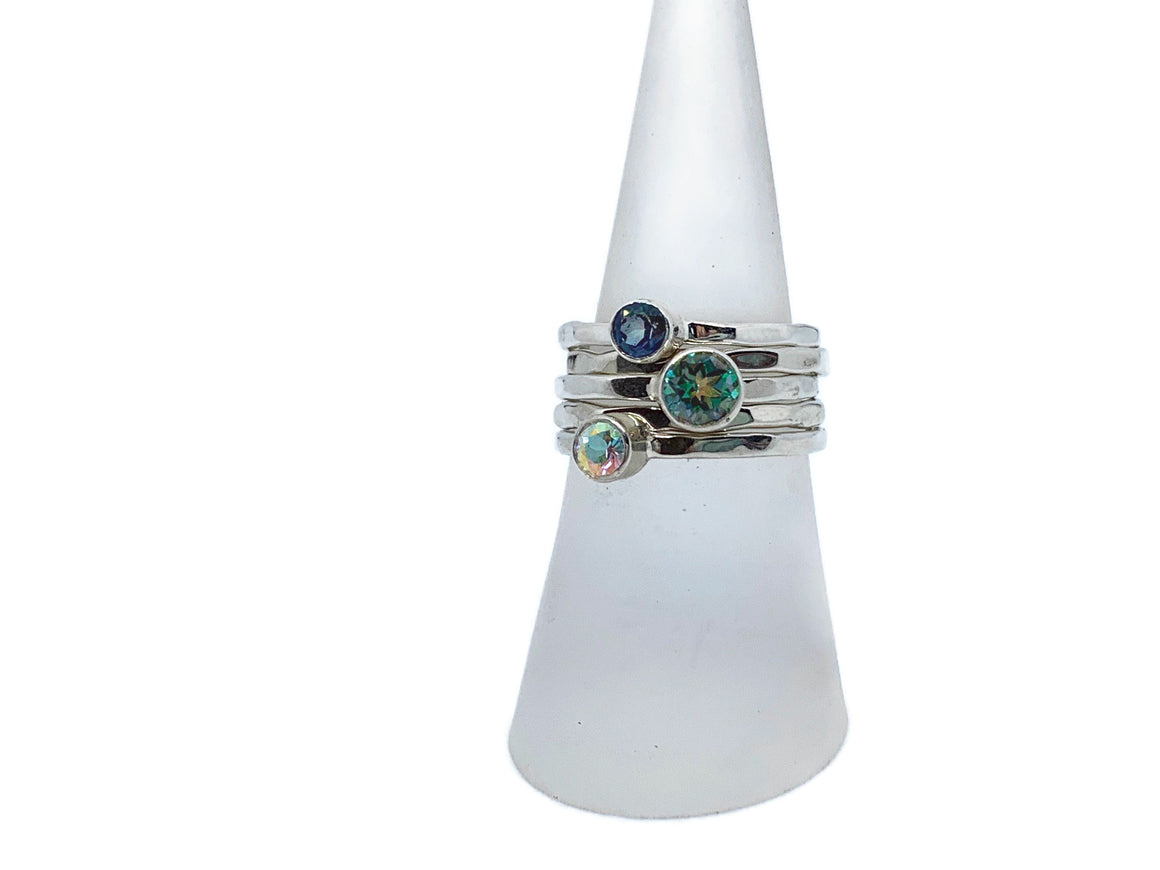 Mystic Topaz Stack Ring Silver