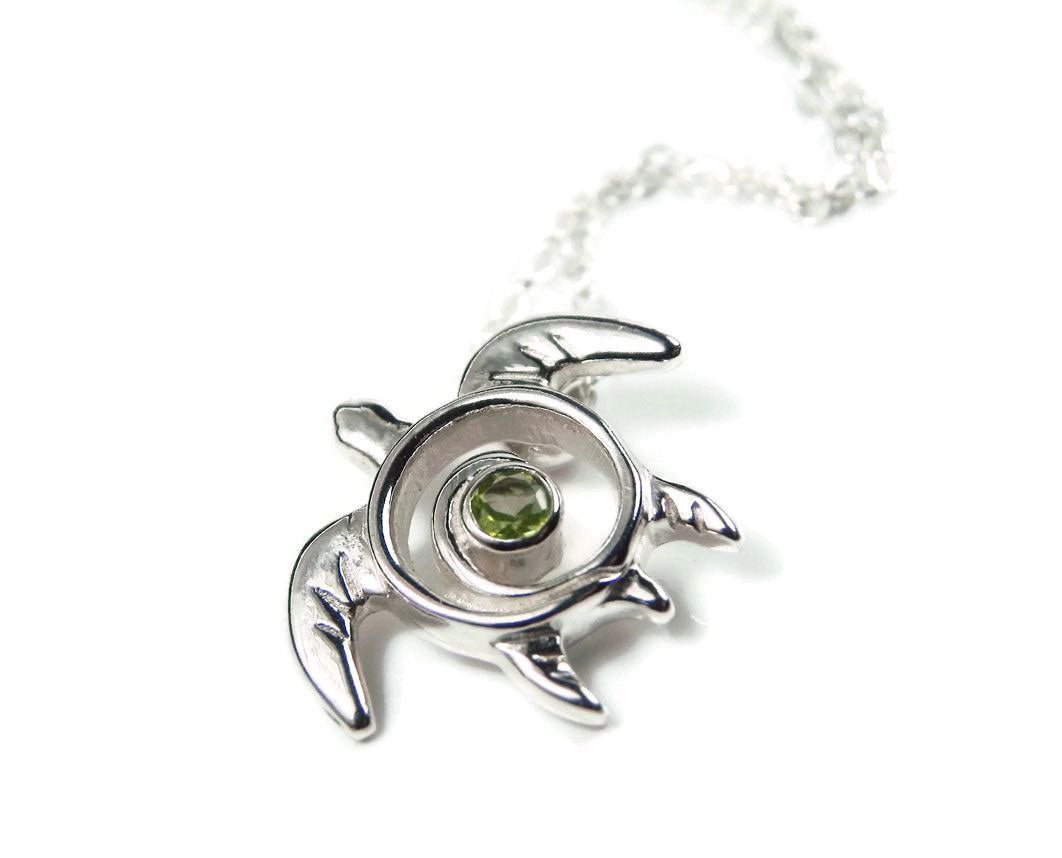 Peridot Necklace Sea Turtle Pendant August Birthstone