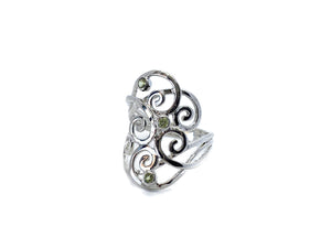 Peridot Multi Swirl Ring Sterling Silver