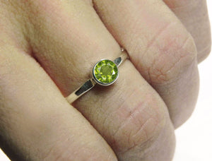 Peridot Solitaire Ring August Birthstone