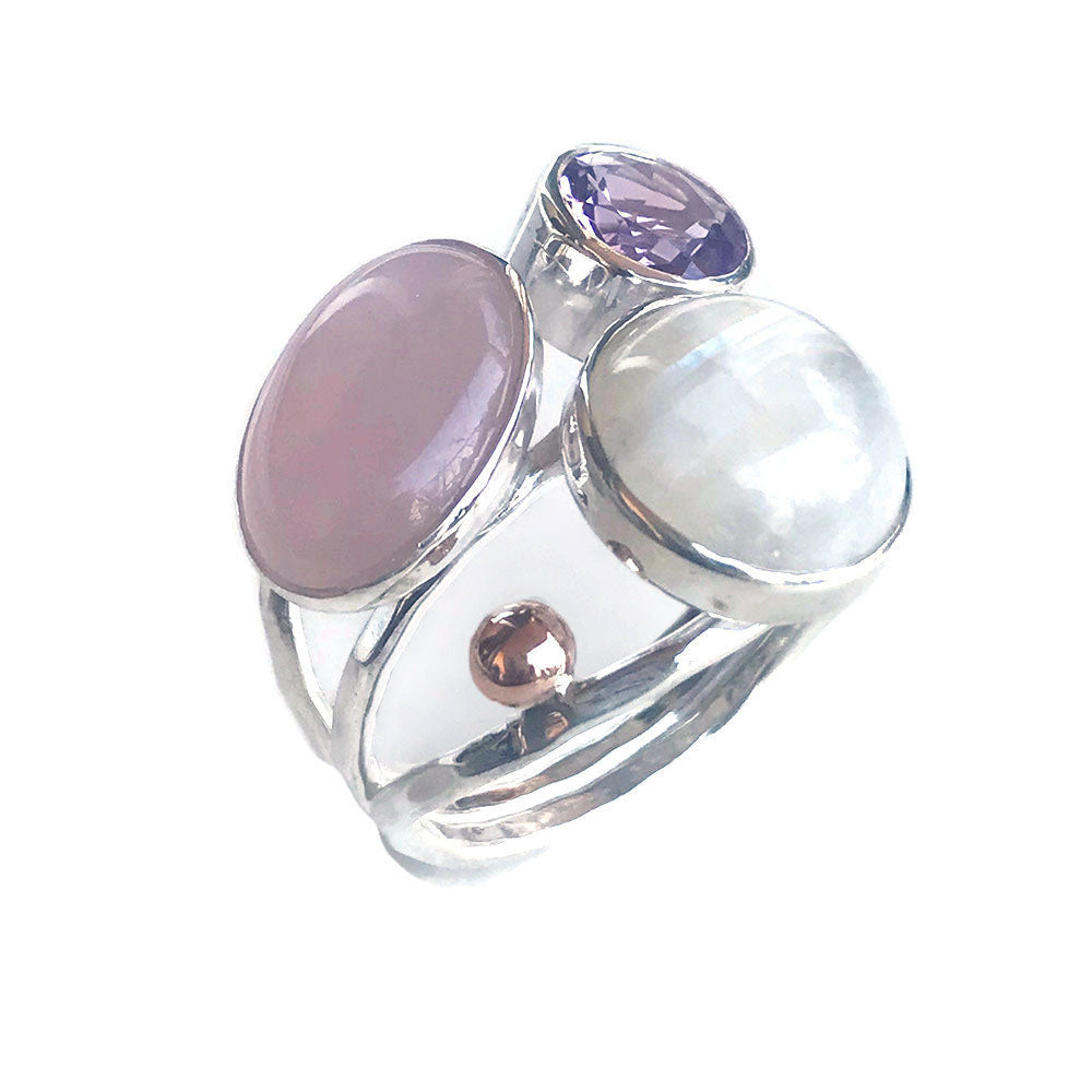 Pastel Gemstone Silver Statement Ring
