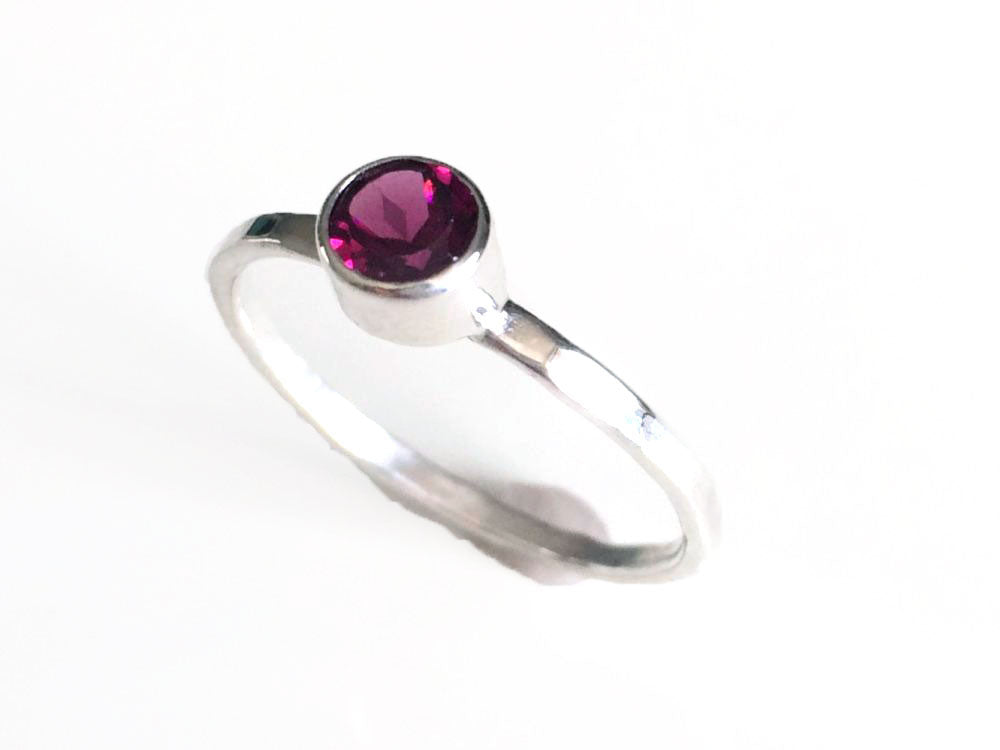 Pink Garnet Ring Bezel Set Solitaire