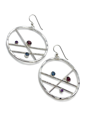 Hoop Earrings with Rhodolite Garnet Blue Topaz and Amethyst