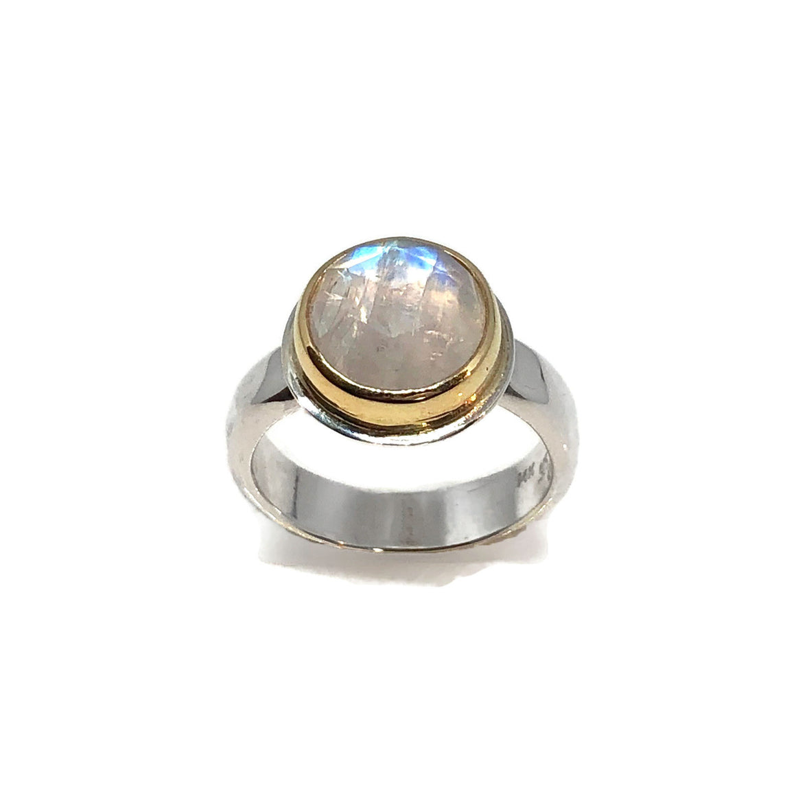 Moonstone Engagement Ring Silver and Gold