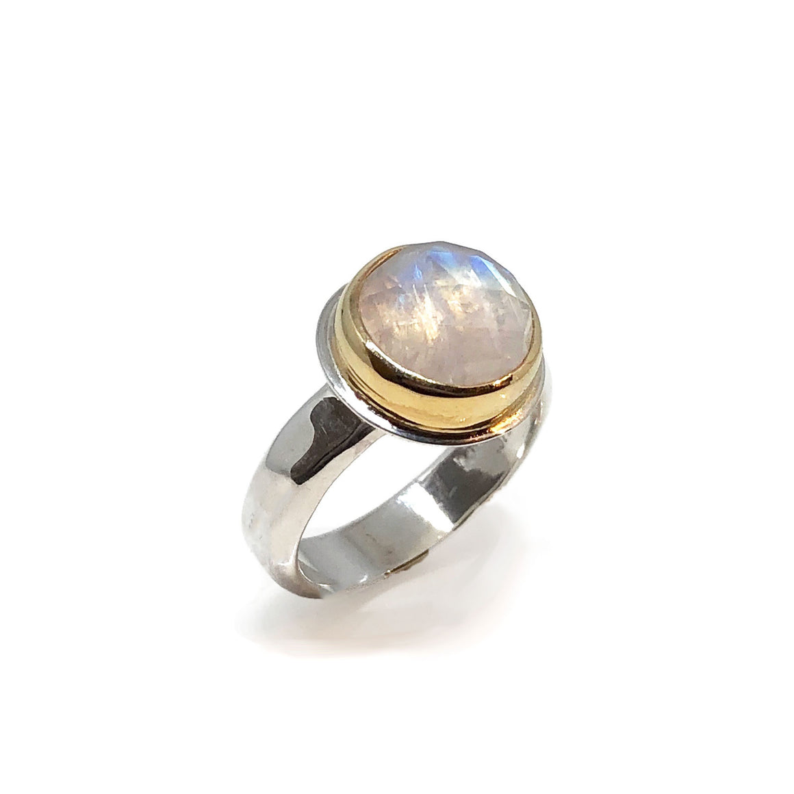 Rose Cut Moonstone Ring Sterling Silver and Gold