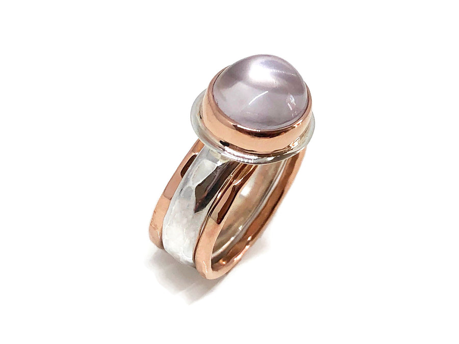 Rose Quartz Engagement Ring Rose Gold and Silver
