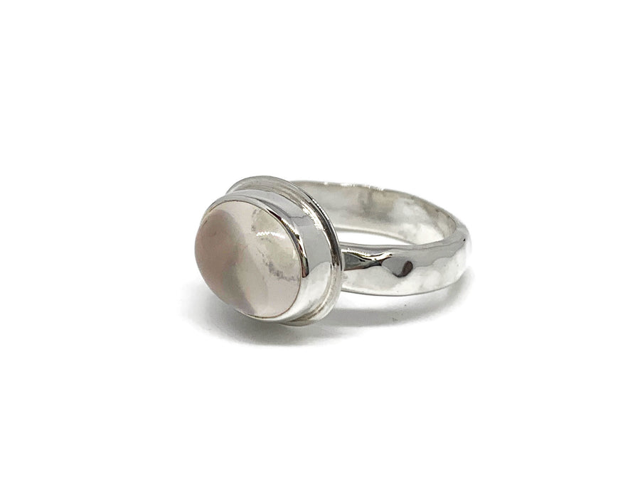 Rose Quartz Ring Sterling Silver Oval Size 8