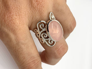 Rose Quartz Ring with Silver Swirl Accents