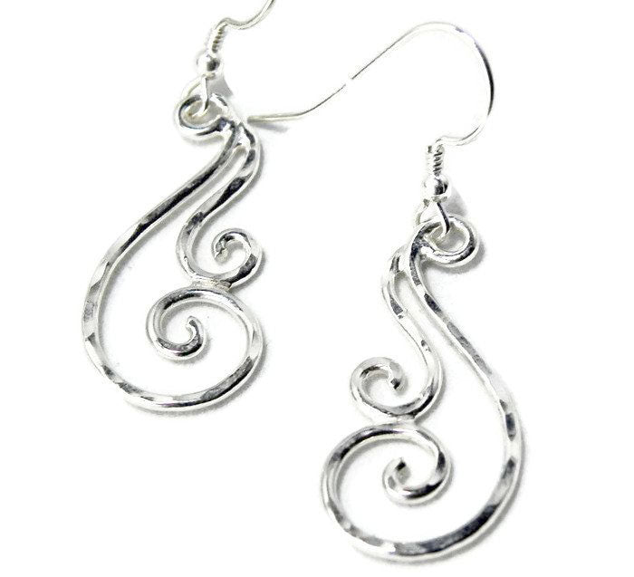 Silver Swirl Lightweight Dangle Earrings
