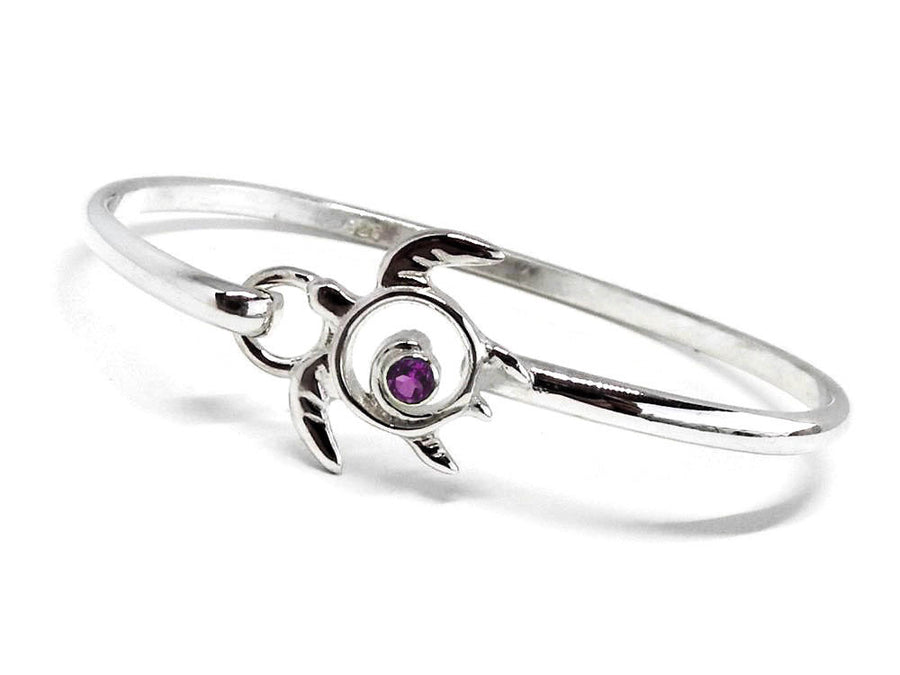 Sea Turtle Bracelet Amethyst Latching Bangle