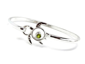 Sea Turtle Bracelet Silver Bangle with Peridot
