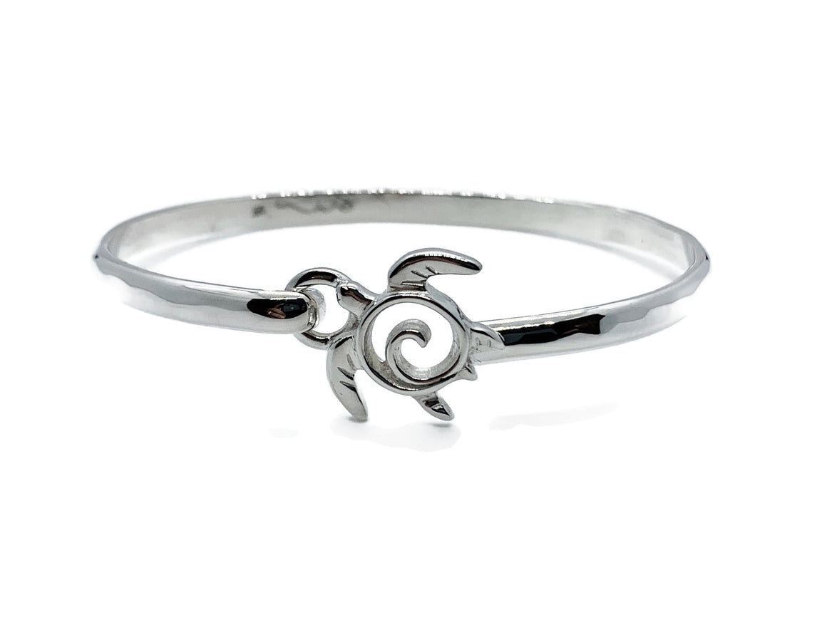 Sea Turtle Bracelet Silver Latching Bangle Style