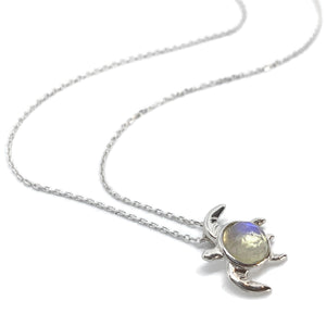 Sea Turtle Necklace with Moonstone Shell