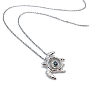 Sea Turtle Necklace White Gold with Blue Diamond