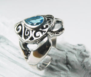 Sea Turtle Ring with Blue Topaz Swirl Shell