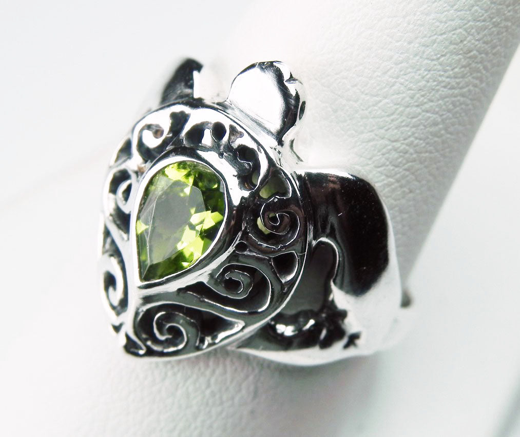 Sea Turtle Ring with Swirl Shell and Peridot