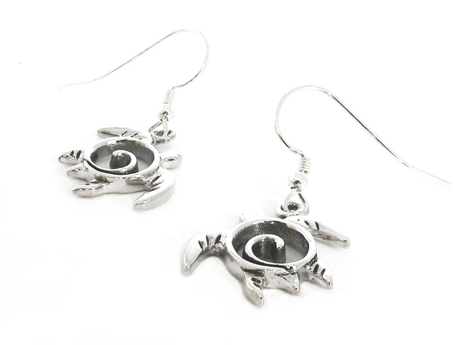 Sea Turtle Swirl Dangle Earrings Sterling Silver