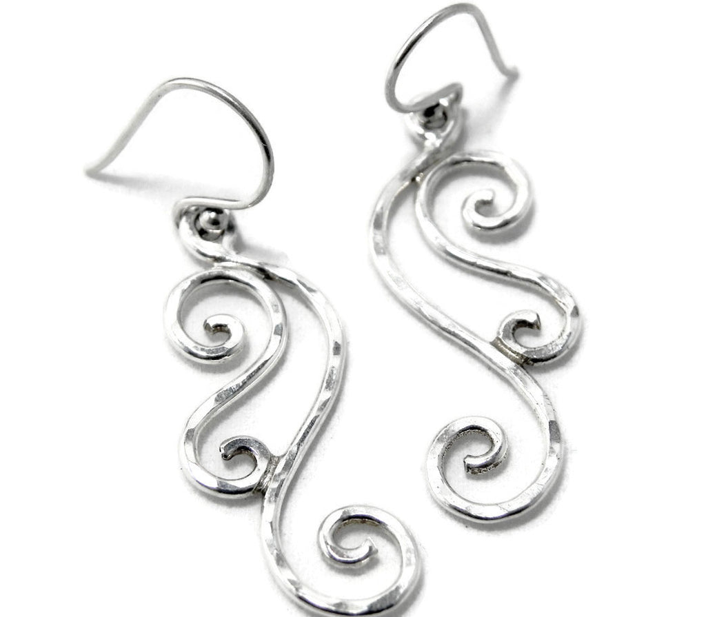 Silver Wave Earrings Hammered Sterling