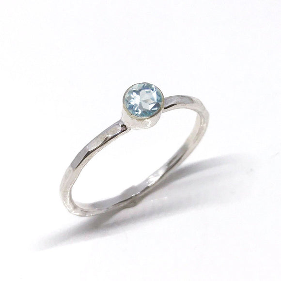 Sky Blue Topaz Minimalist Solitaire Ring