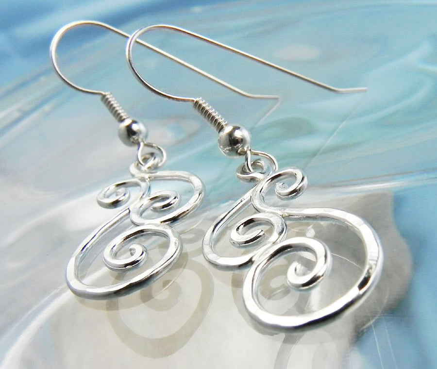 Hammered Small Swirl Dangle Earrings