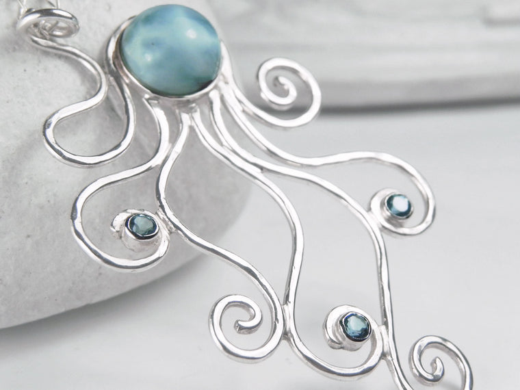 Caribbean Larimar Octopus Statement Necklace Sterling Silver