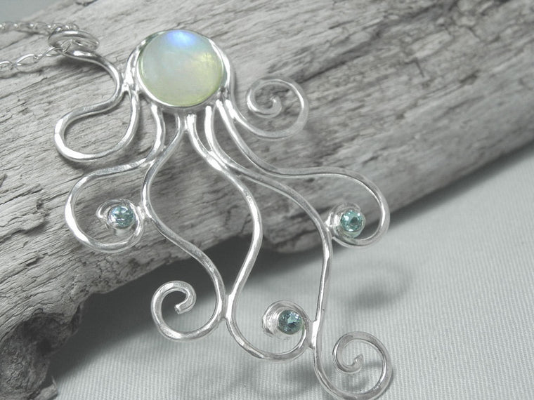 Moonstone Octopus Statement Necklace Sterling Silver