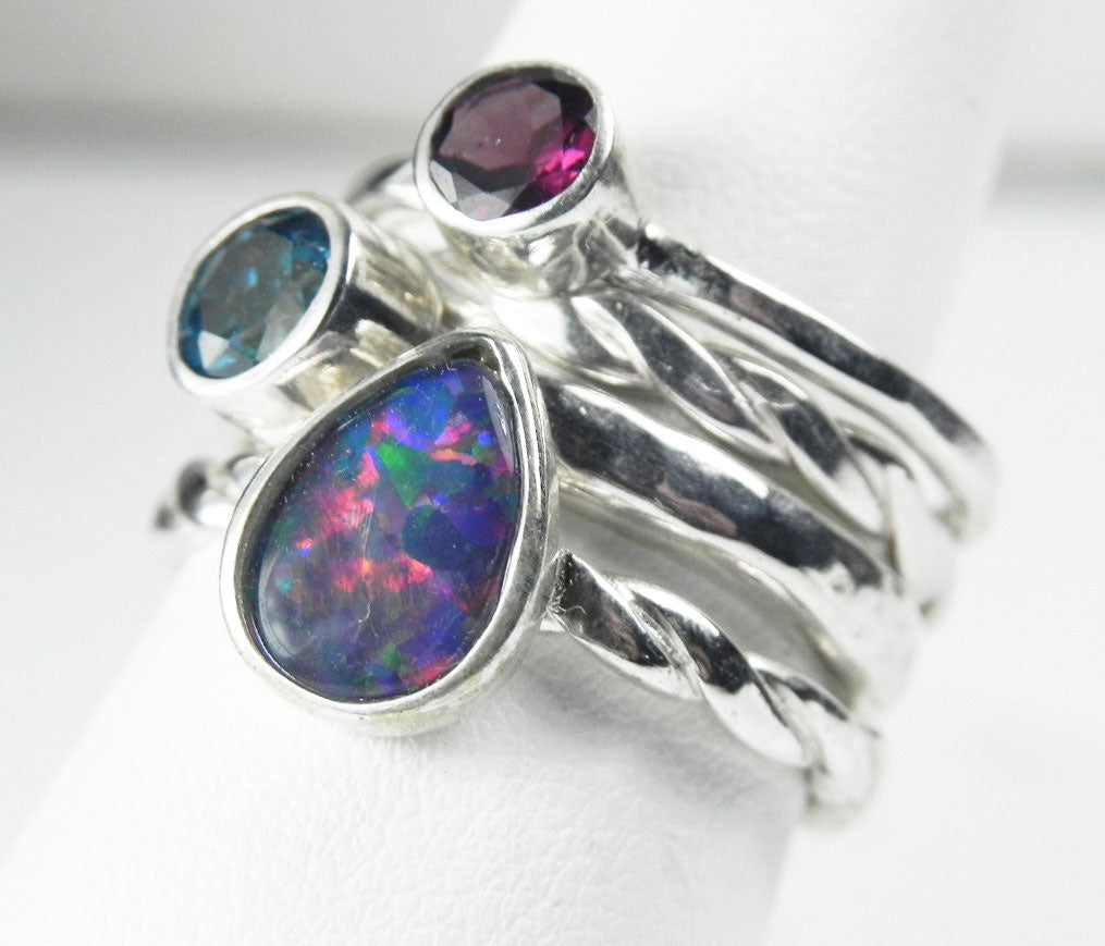 Opal, Rhodolite Garnet and Mystic Blue Topaz Stack Ring