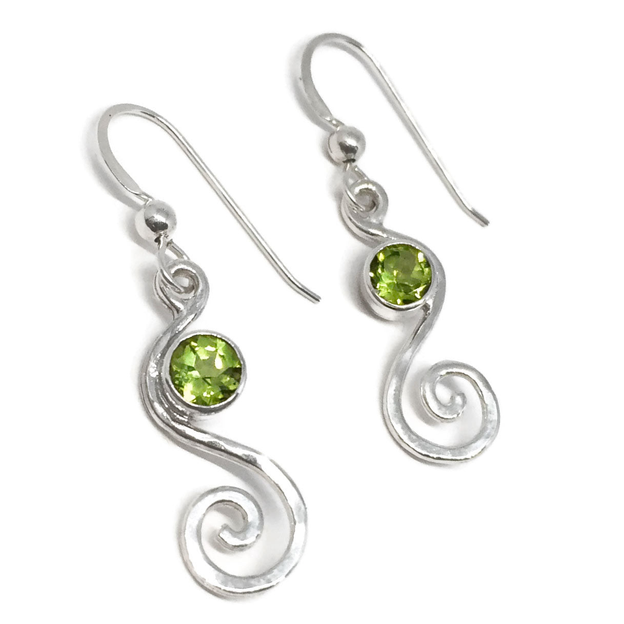 gold earrings white cut cushion halo peridot