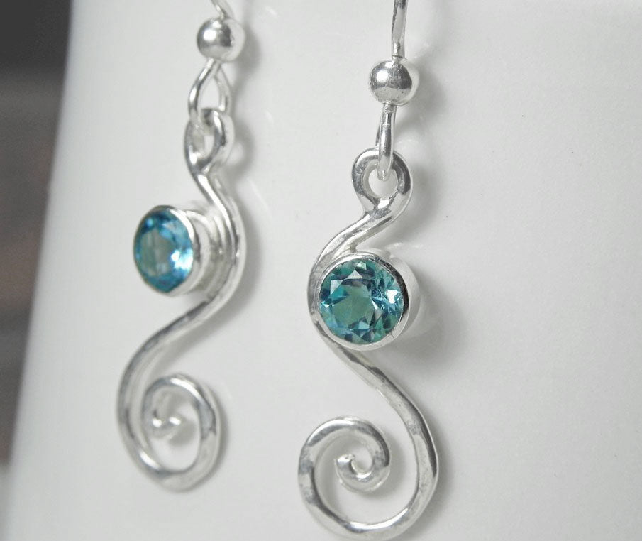 Blue Topaz Silver Swirl Petite Dangle Earrings