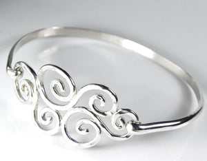 Silver Swirl Hook Bracelet Latching Bangle