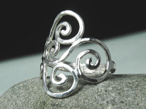 Hammered Swirl Ring Sterling Silver
