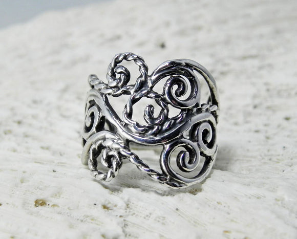 Silver Swirl Rope Detail Ring Sterling Silver