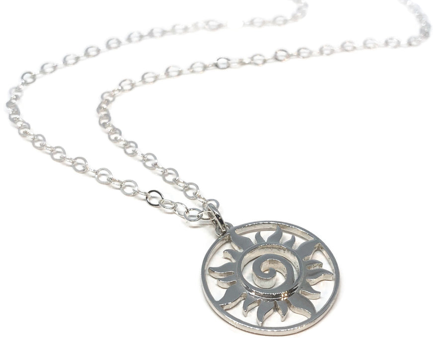 Sun Necklace Silver Swirl Medallion Pendant