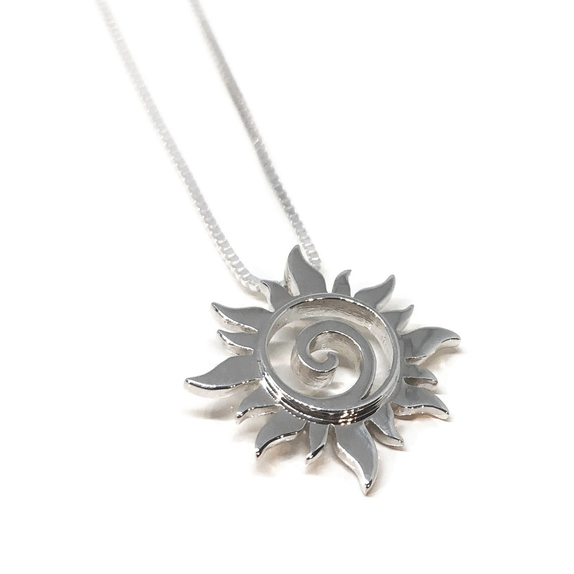 Sun Pendant Silver Swirl Necklace Large