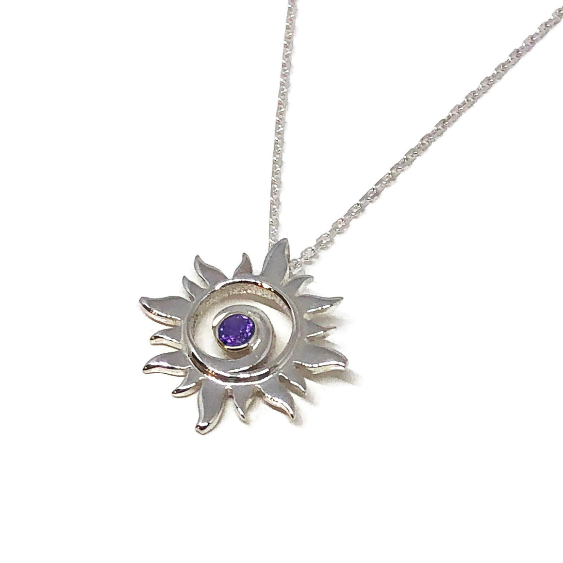 Amethyst Sun Necklace Sterling Silver