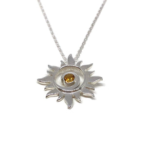 Golden Citrine Sun Swirl Silver Necklace