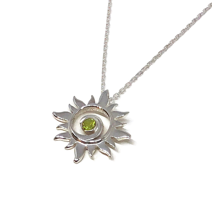 Peridot Silver Sun Necklace