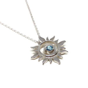 Blue Topaz Sun Necklace Sterling Silver