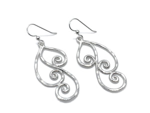 Silver Swirl Triple Dangle Hoop Earrings Large