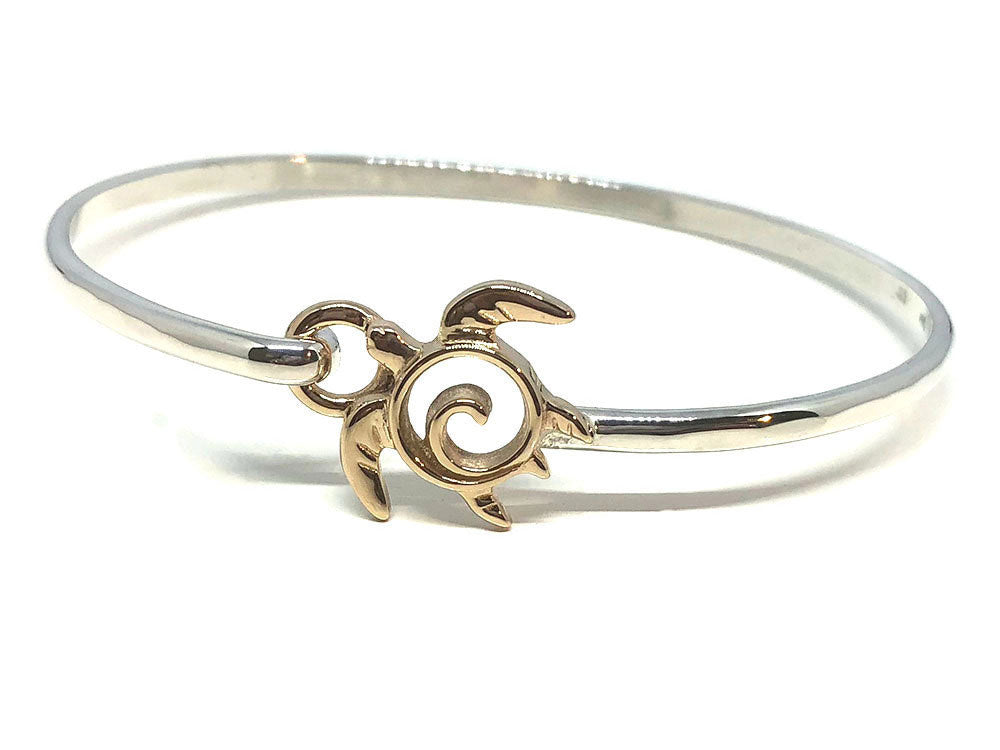 Sea Turtle Bracelet Gold and Silver Latching Bangle