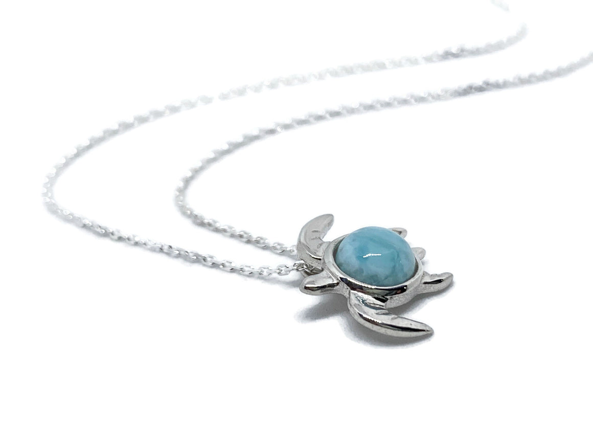 Sea Turtle Larimar Pendant Sterling Silver