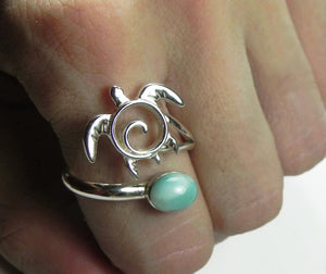 Sea Turtle Swirl Ring with Larimar Adjustable Sterling Silver